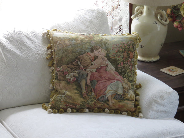 French Country Tapestry Pillow Cover With Tassels, Couple, Flowers, Trees