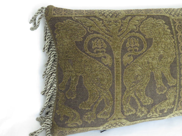 medieval lion chenille pillow