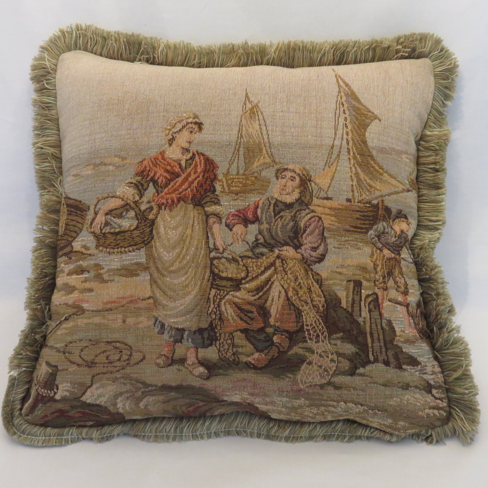 Fisherman scenic tapestry pillow cover