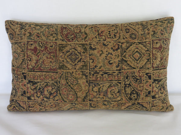 carpet style chenille lumbar pillow cover in tan and navy