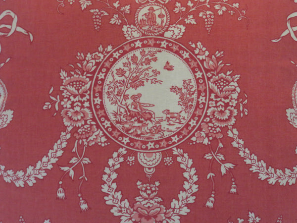 red cameo toile pillow cover