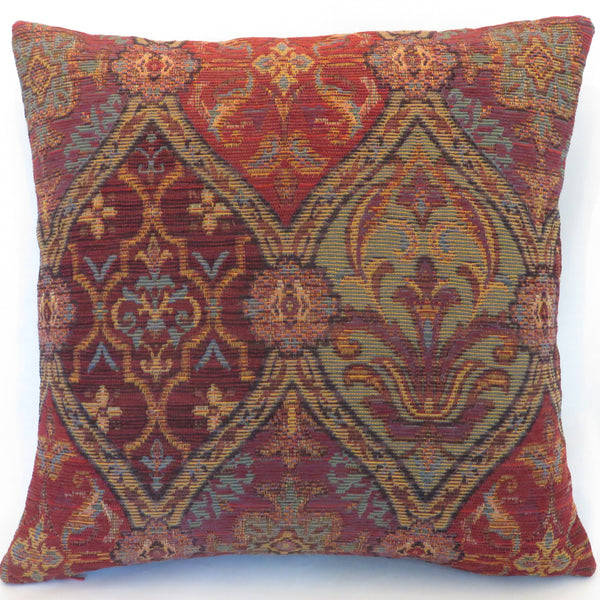 Red Ogee Chenille Pillow Cover