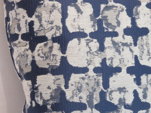 mod ikat squares pillow covers in grey and indigo blue