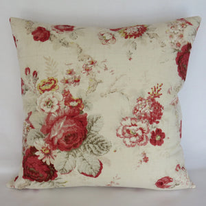 norfolk rose pillow cover waverly cream and red  country floral
