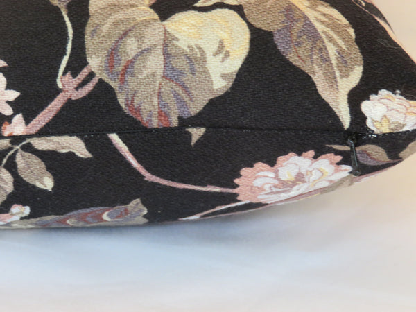 pink lilacs on black barkcloth pillow cover, vintage cotton