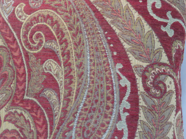red and gold paisley chenille pillow cover