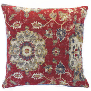 Red weathered kilim style pillow cover