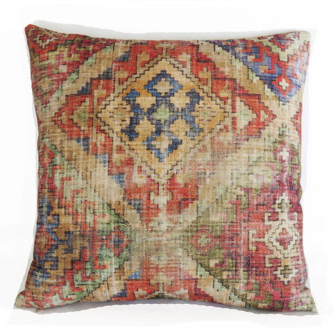 Colorful Southwest Pillow Cover, Velvet Waverly Omari