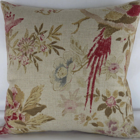floral and bird pillow cover, braemore arielle linen blend print