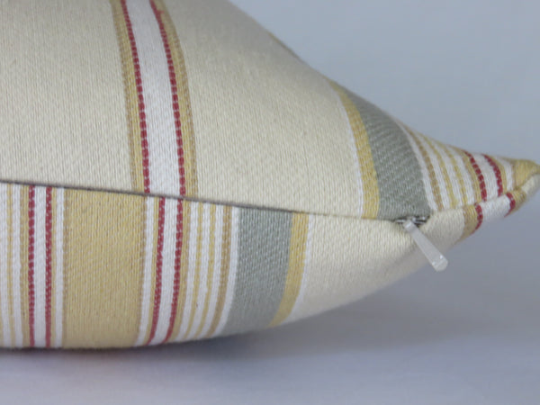 pale yellow sage green stripe pillow cover