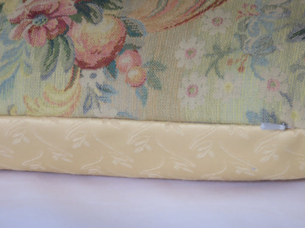 Yellow floral tapestry pillow aubusson style