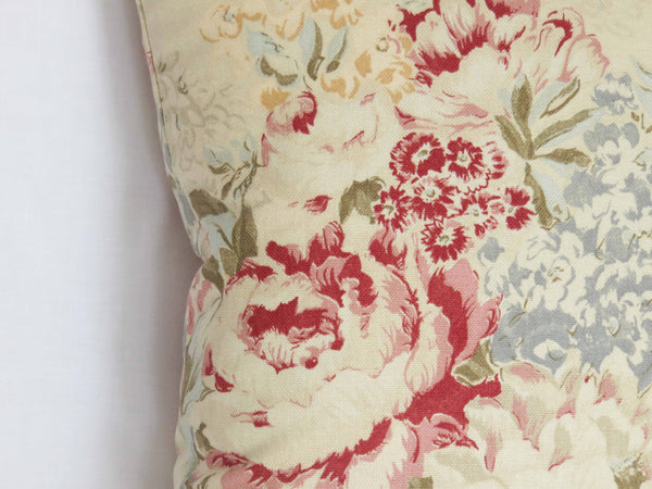 "Angela Floral Pillow Cover in Cream 17"", Ralph Lauren Fabric"