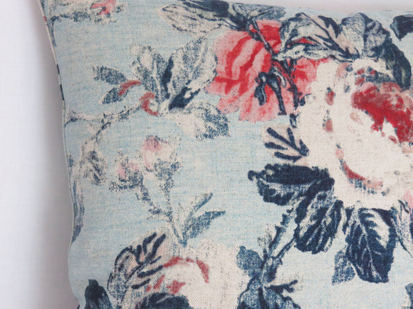 pink & red roses on chambray blue pillow