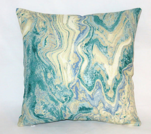 turquoise marble print pillow