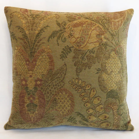 Faded green floral pillow cover art nouveau or mission