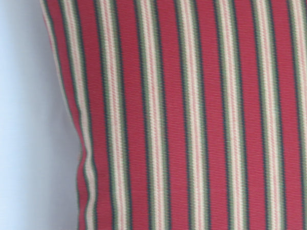 red and green farmhouse stripe pillow cover