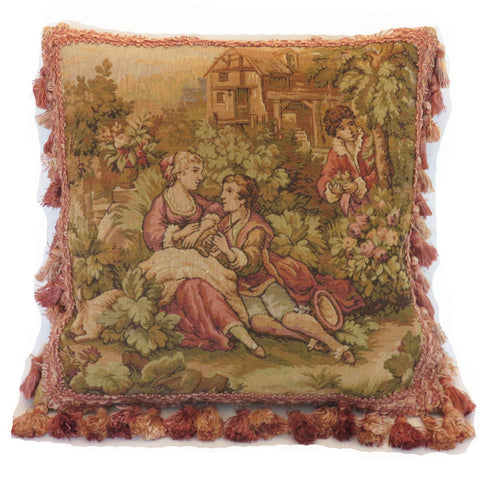 belgian tapestry pillow cover with pink tassel fringe A