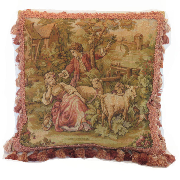 belgian tapestry pillow cover with pink tassel fringe B