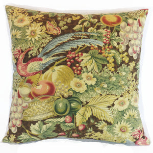 baker bird floral pillow cover, brown & gold