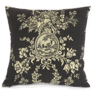 country house black toile pillow cover Waverly Noir