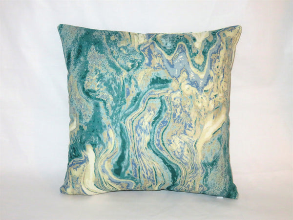 marble print pillow in turquoise