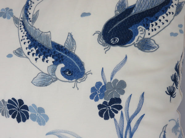 embroidered koi pillow cover in blue and white