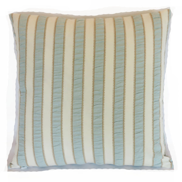 pale blue and cream striped pillow cover