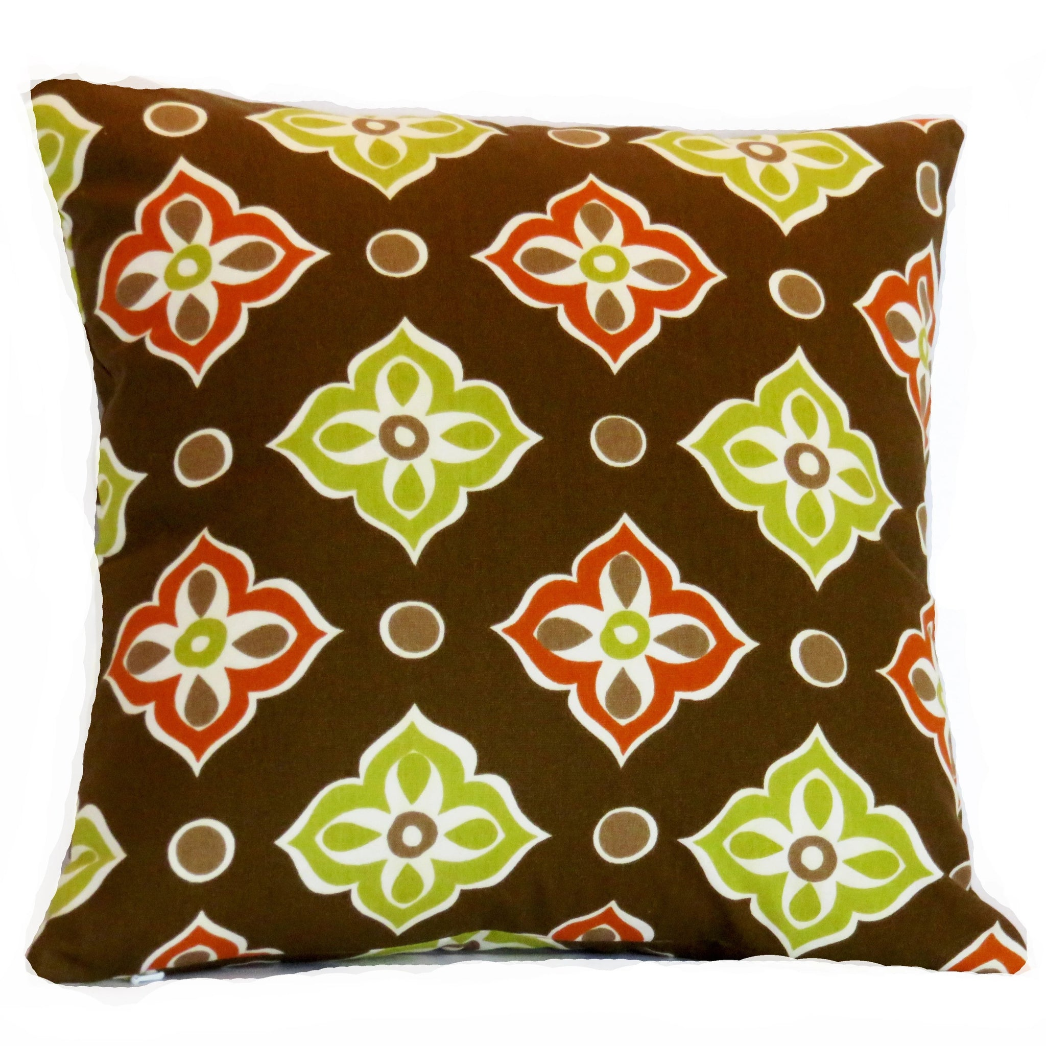 Brown Mod Floral Pillow Cover,  Retro Geometric with Lime and Orange