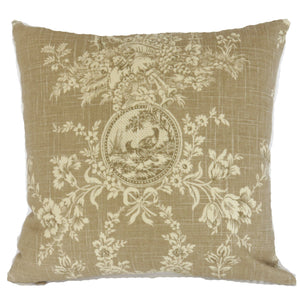 tan toile and ticking pillow cover, Waverly country house