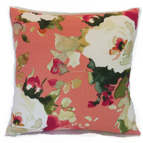 salmon pink floral pillow cover
