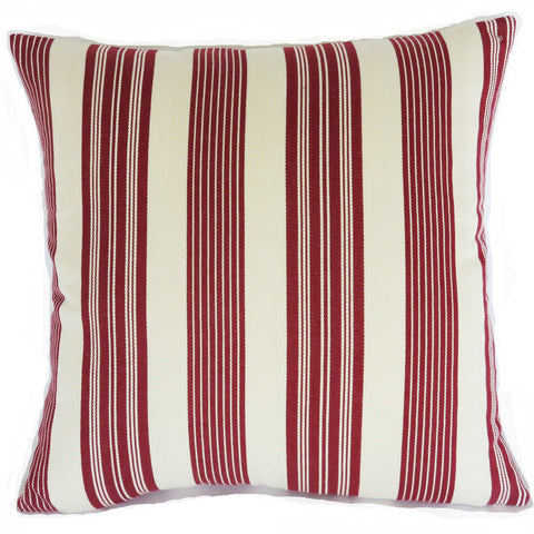 cranberry red and white striped pillow cover