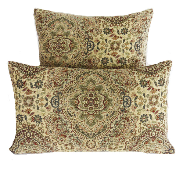 cream navy wine brocade pillow cover