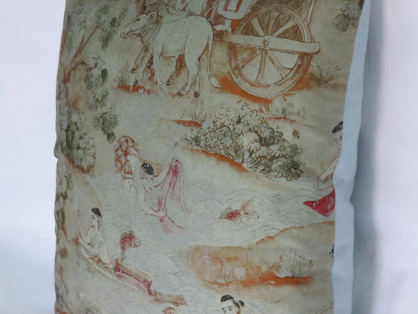 Thai Pictorial Pillow Cover - Jim Thompson Fabric,  Jim's Dream, River Scene F