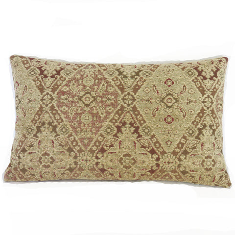 faded rose tan olive chenille lumbar pillow cover