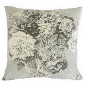 Grey floral and ticking pillow cover waverly ballad bouquet