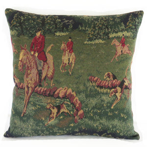 Green Equestrian Tapestry Pillow Cover