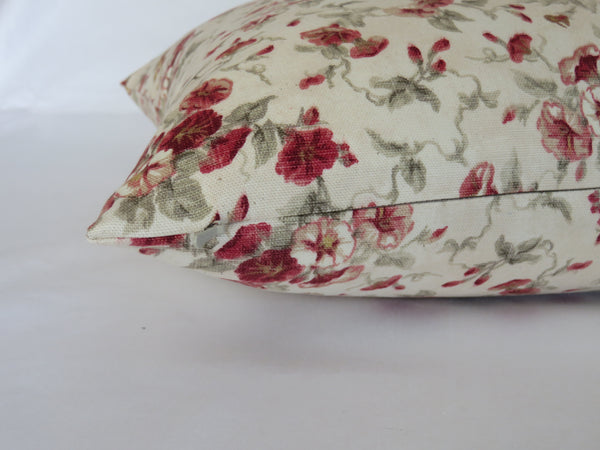 fairhaven rose pillow cover waverly cream and red  country floral