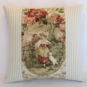 Fragonard toile and ticking pillow cover, Richloom Blush