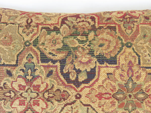 gold red green blue quatrefoil chenille pillow cover