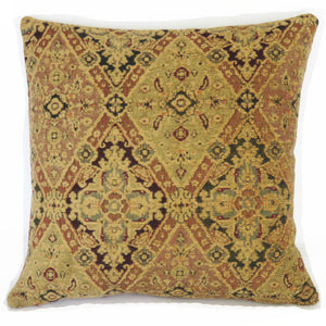 gold navy red diamond chenille pillow cover
