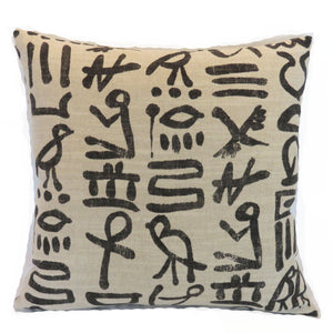hieroglyph print pillow cover