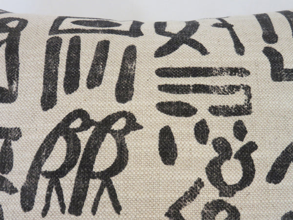 Hieroglyph Print Pillow Cover, Natural Cream and Charcoal Black, Birds, People, Symbols