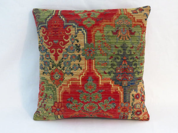 colorful chenille kilim style pillow red, green, blue, yellow