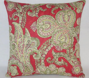 red paisley pillow, Waverly grand gesture sateen