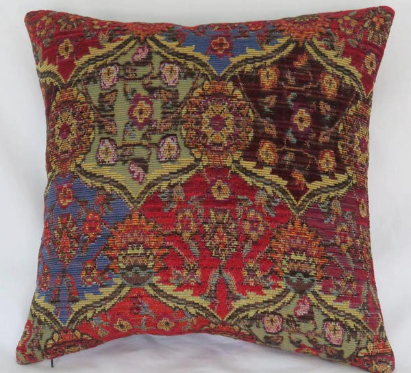 colorful chenille tapestry pillow ogee red blue green purple