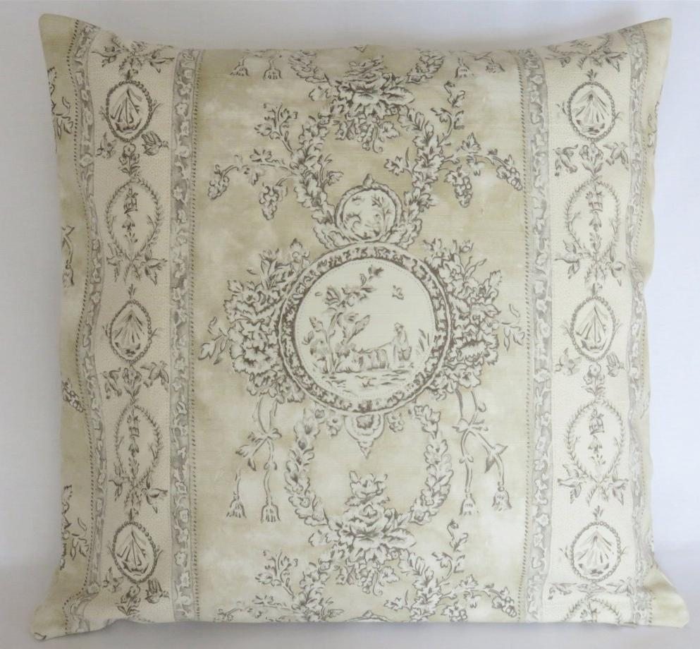 Beige cameo toile pillow brunschwig discontinued