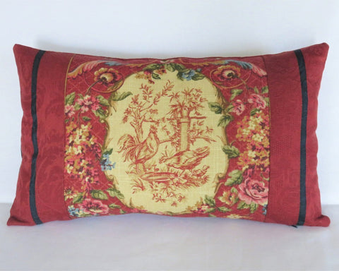 waverly saison de printemps rouge red chicken toile pillow