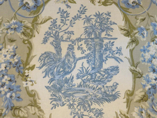 blue and tan chicken toile lumbar pillow waverly rendezvous in chambray