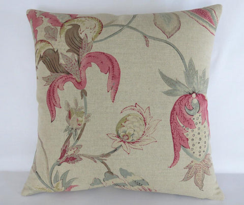 acquitaine omoko pillow beige linen floral with ink, brown, aqua