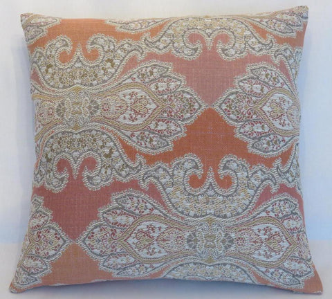 orange and grey medallion pillow robert allen crown top in coral reef